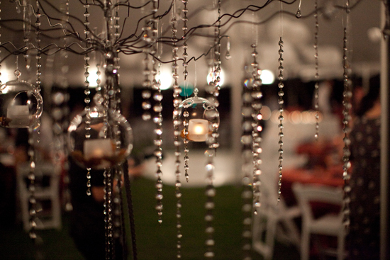 Bubble lights and crystals for a Maui wedding by destination wedding planner, Mango Muse Events