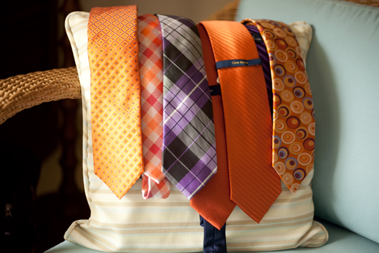 Orange and purple ties for a Maui wedding by destination wedding planner, Mango Muse Events