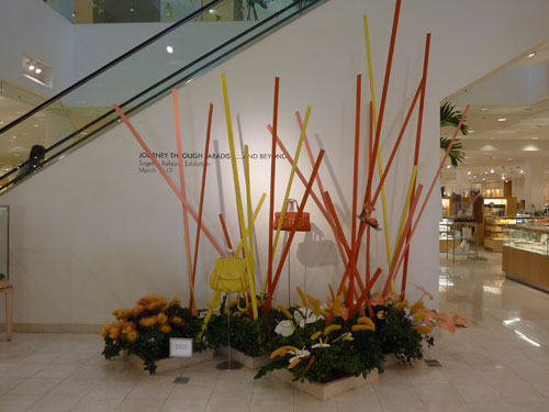 Colored sticks Hawaii Ikebana arrangement at Neiman Marcus