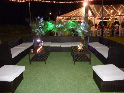 Lounge Setup Night Time at a Green Wedding in Hawaii by Destination Wedding Planner, Mango Muse Events