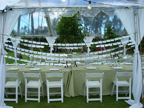 Hanging Escort Cards at a Green Wedding in Hawaii by Destination Wedding Planner, Mango Muse Events