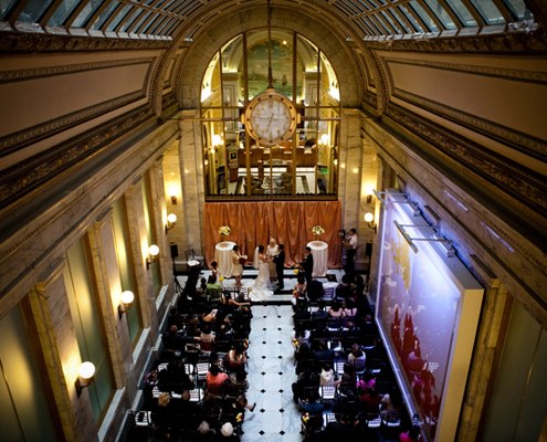 San Francisco wedding ceremony in the merchants exchange building by destination wedding planner, Mango Muse Events