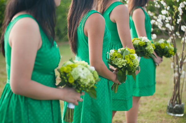 Green bridesmaid dresses and green bouquets for Green wedding inspiration by Destination wedding planner, Mango Muse Events