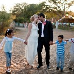 wedding couple with kids at a Mexico destination wedding Destination wedding planner, Mango Muse Events