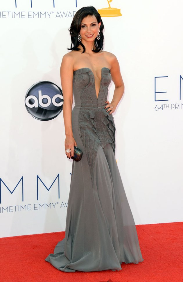 Morena Baccarin gray dress Emmy fashion wedding inspiration by Destination wedding planner, Mango Muse Events