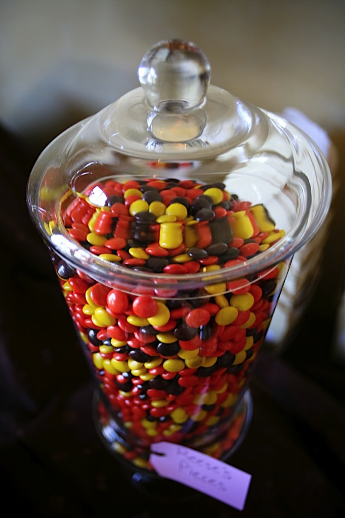 Reeses Pieces Halloween candy bar for a Halloween Wedding by Destination wedding planner Mango Muse Events