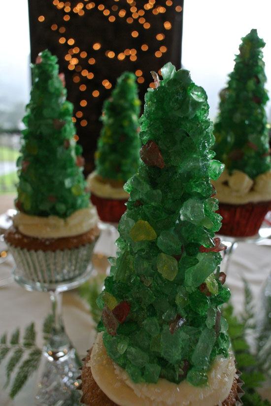 Close up of Rock candy and sugar cone Christmas tree cupcake as a Holiday party centerpiece idea by Destination wedding planner Mango Muse Events
