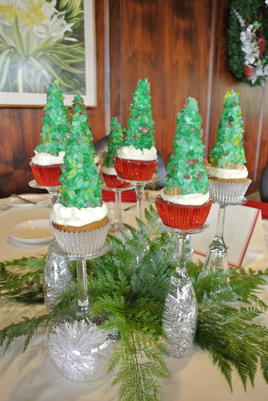 Christmas tree cupcake centerpieces as a Holiday party centerpiece idea by Destination wedding planner Mango Muse Events