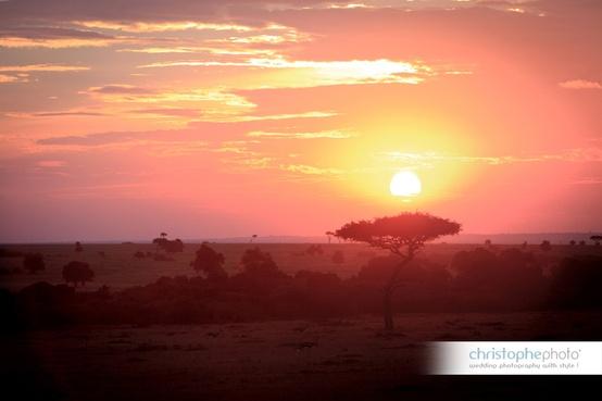 Sunset over the savannah for a Kenya destination wedding shared by Destination wedding planner, Mango Muse Events