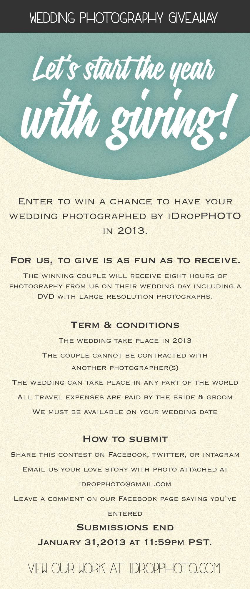 iDropPhoto wedding photography giveaway