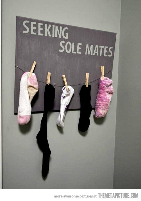 Single lone socks seeing sole mates