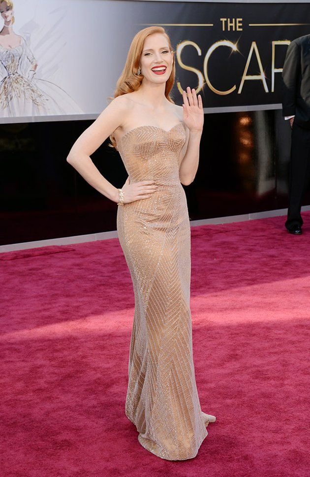 Jessica Chastain on the red carpet 2013 Oscars wedding fashion inspiration picked by Destination wedding planner Mango Muse Events