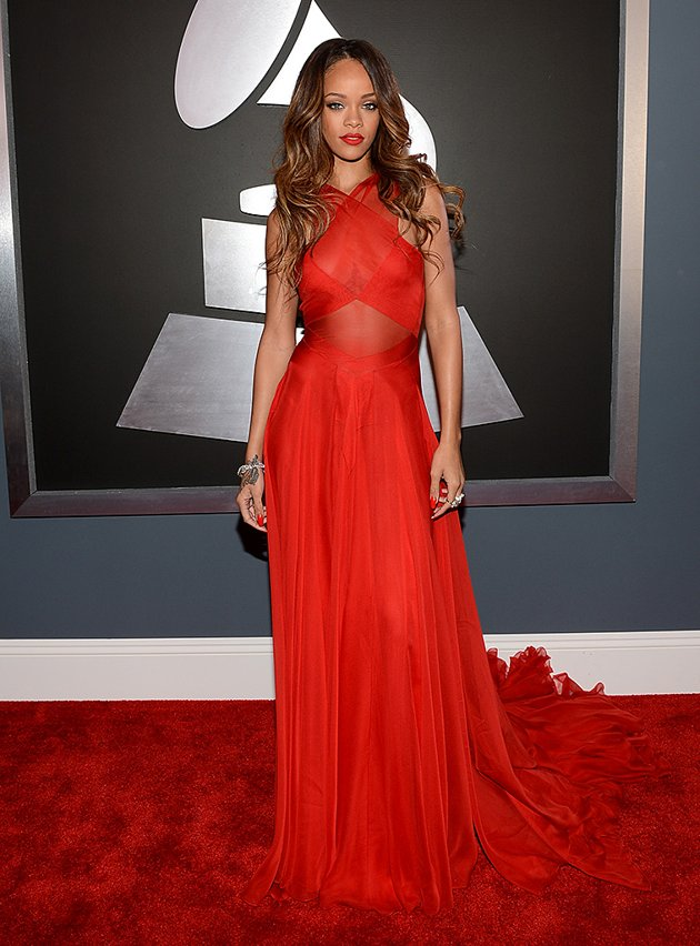 Rihanna on the red carpet at the 2013 Grammys wedding fashion inspiration picked by Destination wedding planner Mango Muse Events