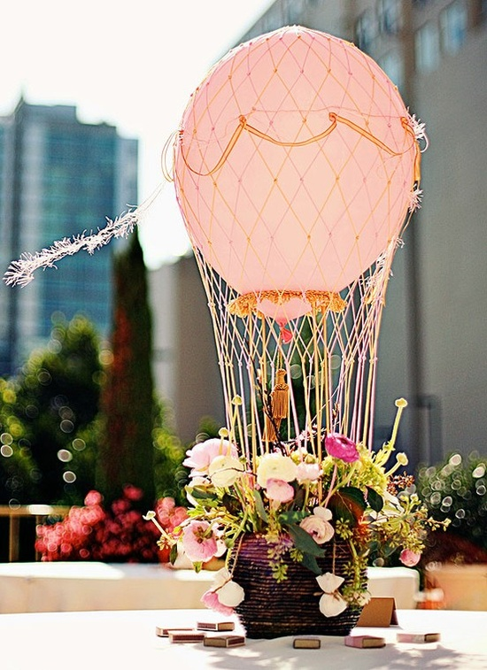Mini hot air balloon centerpiece