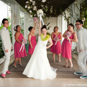 Mixed gender wedding party for a Hawaii destination wedding by Destination wedding planner Mango Muse Events