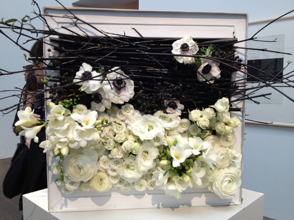Black branches and white flowers piece at the 2013 Bouquets to Arts exhibit at the De Young Museum in San Francisco favorite picks by Destination wedding planner Mango Muse Events