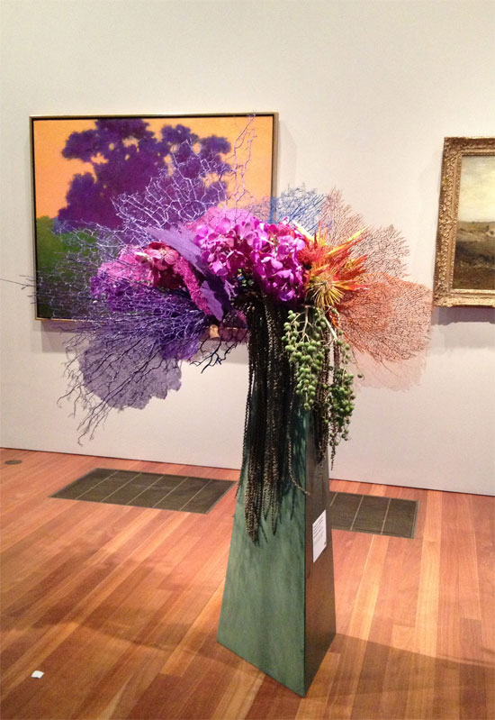 Purple tree piece at the 2013 Bouquets to Arts exhibit at the De Young Museum in San Francisco favorite picks by Destination wedding planner Mango Muse Events