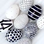 Graphic black and white Easter eggs decorating ideas for an Easter Party