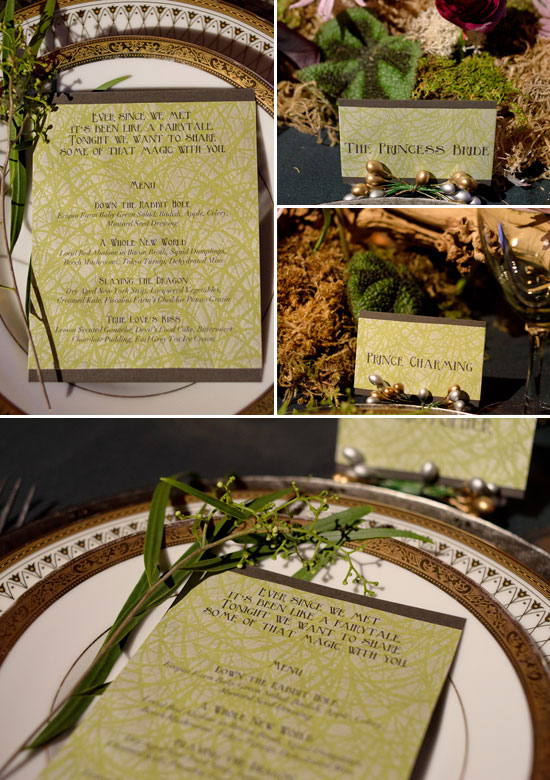 Menu and placecards made for a fairytale wedding table design created for the Beyond Blu Bungalow Venue Tours by Destination wedding planner Mango Muse Events