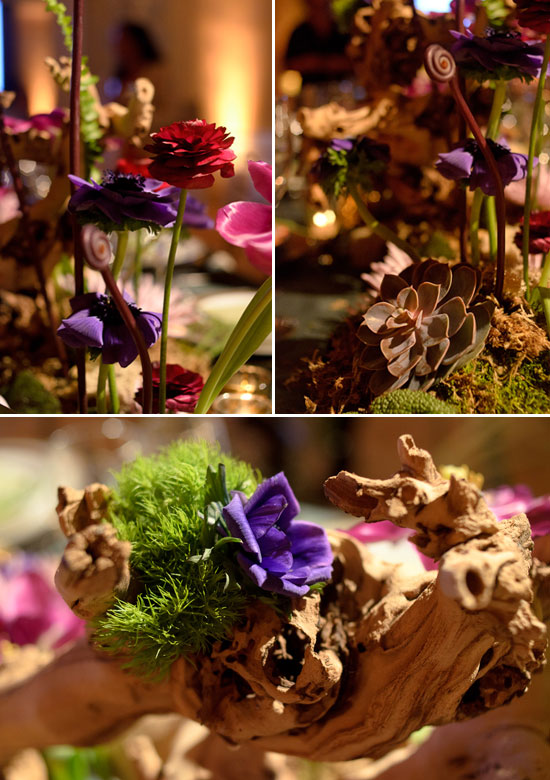 Fiddlehead fern and grape root in the centerpiece for a fairytale wedding table design created for the Beyond Blu Bungalow Venue Tours by Destination wedding planner Mango Muse Events