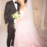 Justin Timberlake and Jessica Biel in a pink colored wedding dress at their destination wedding