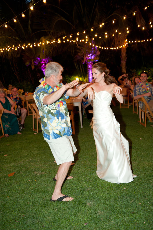 Father daughter moment of a father daughter hula dance at a Hawaii destination wedding by Destination wedding planner Mango Muse Events