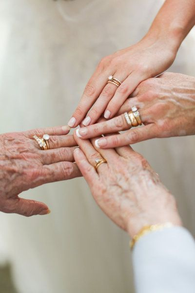 Family of women and their wedding rings