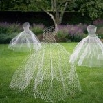 Wire ghost dresses as Halloween lawn decor