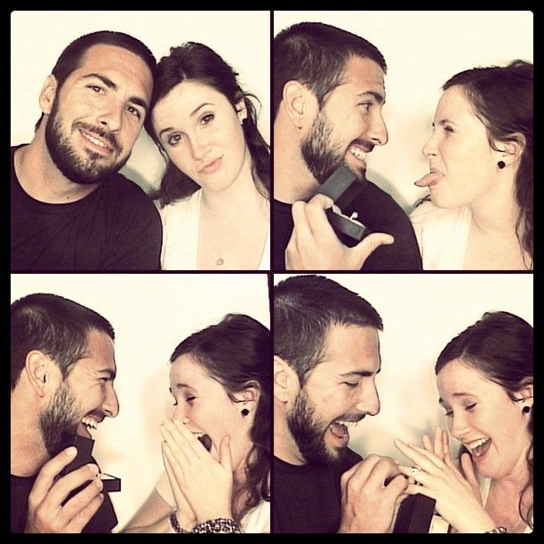 4 photos showing a surprise photobooth engagement proposal