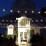 Conservatory of Flowers wedding ceremony set up.