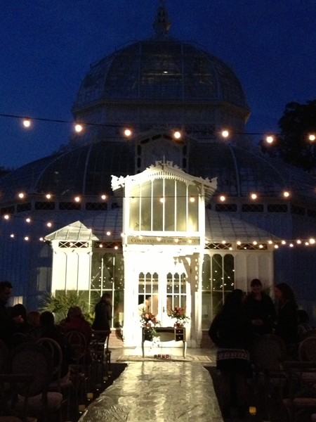 Conservatory of Flowers wedding ceremony set up.