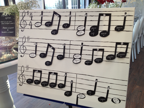 A musical note seating card display by destination wedding planner Jamie Chang of Mango Muse Events.