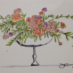 Wedding flowers watercolor sketch by Jamie Chang, destination wedding planner at Mango Muse Events.