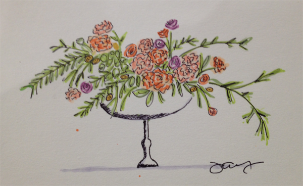 Wedding floral arrangement watercolor sketch by Jamie Chang, destination wedding planner at Mango Muse Events created at The Sketchbook Series