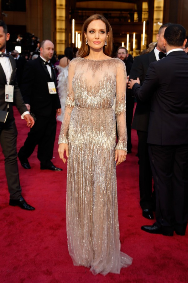 Angelina Jolie in Elie Saab gown at 2014 Oscars