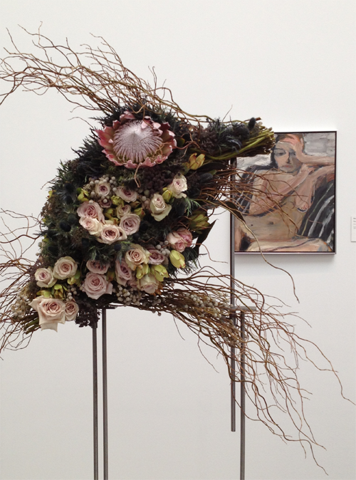 2014 Bouquets to Art pink roses and branch interpretation of nude painting.