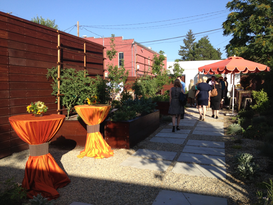 Outdoor garden space at Catelli's event venue