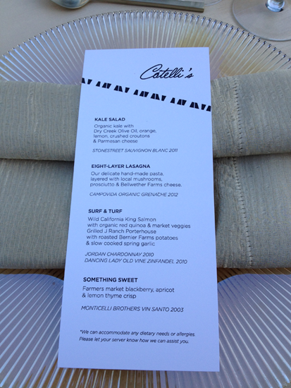 Kick off party menu at Catelli's event venue in Geyserville