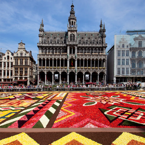 Carpet of begonias in Brussels. Design inspiration by destination wedding planner Jamie Chang of Mango Muse Events.