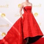 January Jones in a red Prabal Gurung gown for 2014 Emmy Awards.