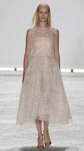 Bridal fashion inspiration from designer Monique Lhuillier Spring 2015, light pink glitter dress.