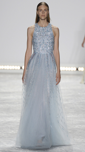 Bridal fashion inspiration from designer Monique Lhuillier Spring 2015, light blue beaded gown.