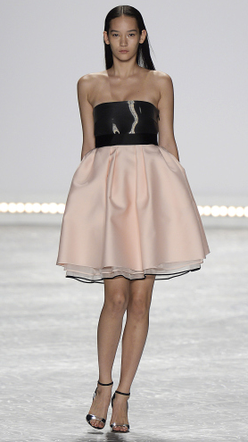 Bridal fashion inspiration from designer Monique Lhuillier Spring 2015, strapless pink and black mini dress.