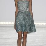 Bridal fashion designer Monique Lhuillier Spring 2015, short metallic sparkle dress.