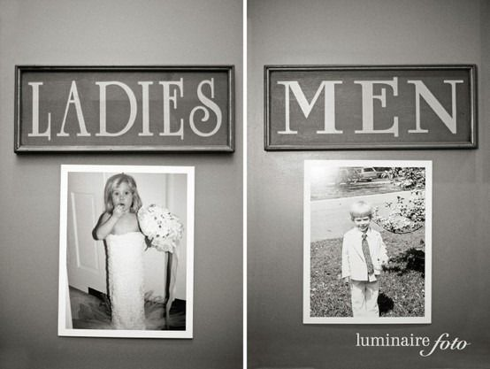 Photos of bride and groom posted outside the doors of the men and women's bathrooms as bathroom decor at a wedding reception.