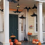 Hanging bats outdoor Halloween decor.
