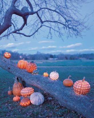 Pumpkins used as outdoor Halloween decor.