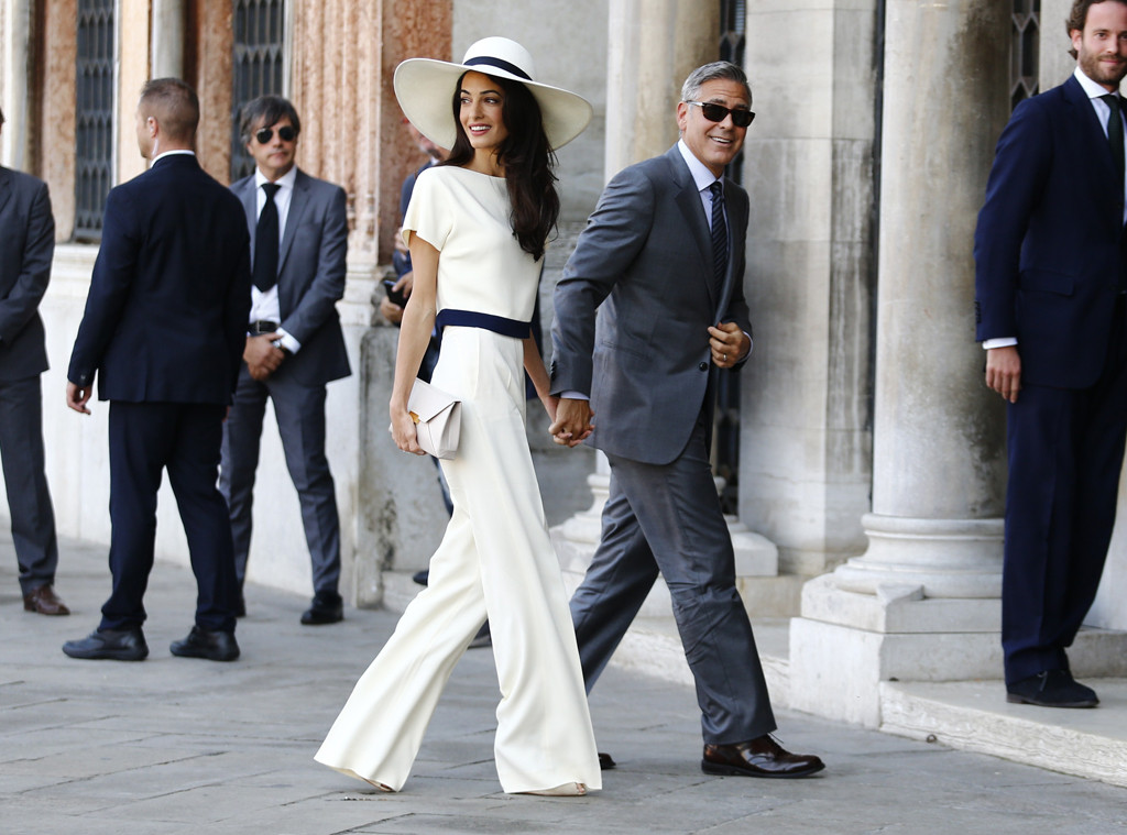 Celebrity couple George Clooney and Amal Alamuddin at their destination wedding in Venice.