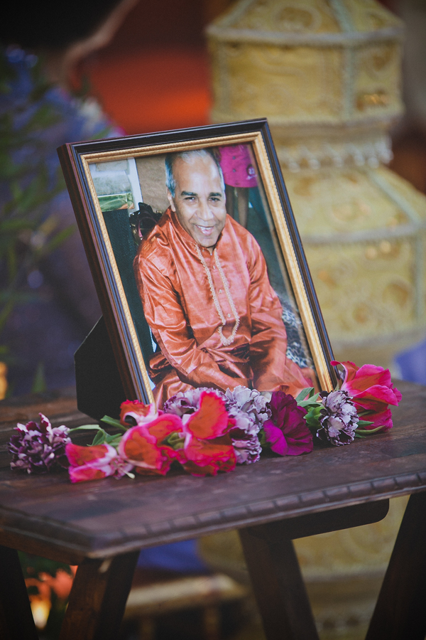 A photo of the father of the groom as a special remembrance at a Indian wedding by destination wedding planner Mango Muse Events