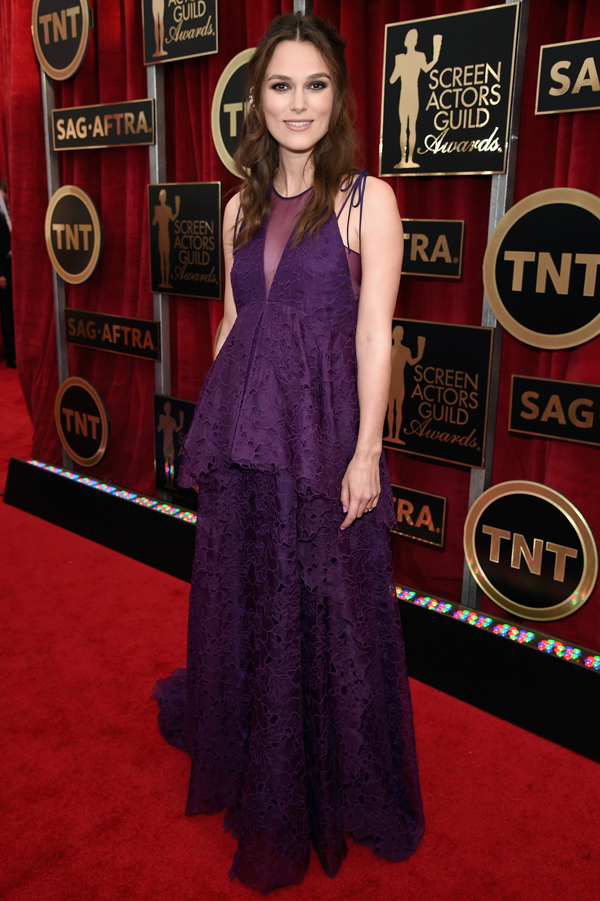 Keira Knightley wears a purple Erdem gown on the red carpet of the 2015 SAG awards wedding inspiration by Destination wedding planner, Mango Muse Events